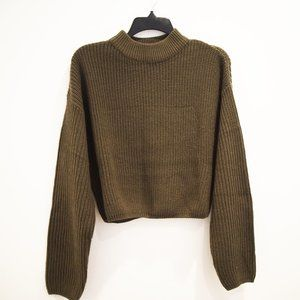 H&M Dark Green Cropped Knit Sweater - M